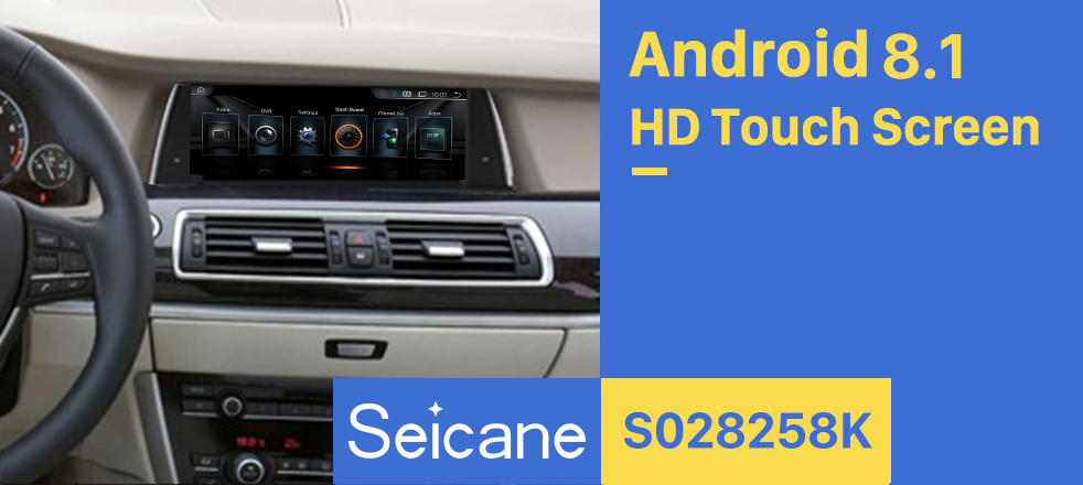 Seicane 10.25 Inch HD Touchscreen Android 8.1 Head Unit For 2011-2012 BMW 5 Series F07 GT CIC Car Stereo Radio GPS Navigation System Bluetooth Phone Support 1080P Video OBDII DVR Steering Wheel Control WIFI