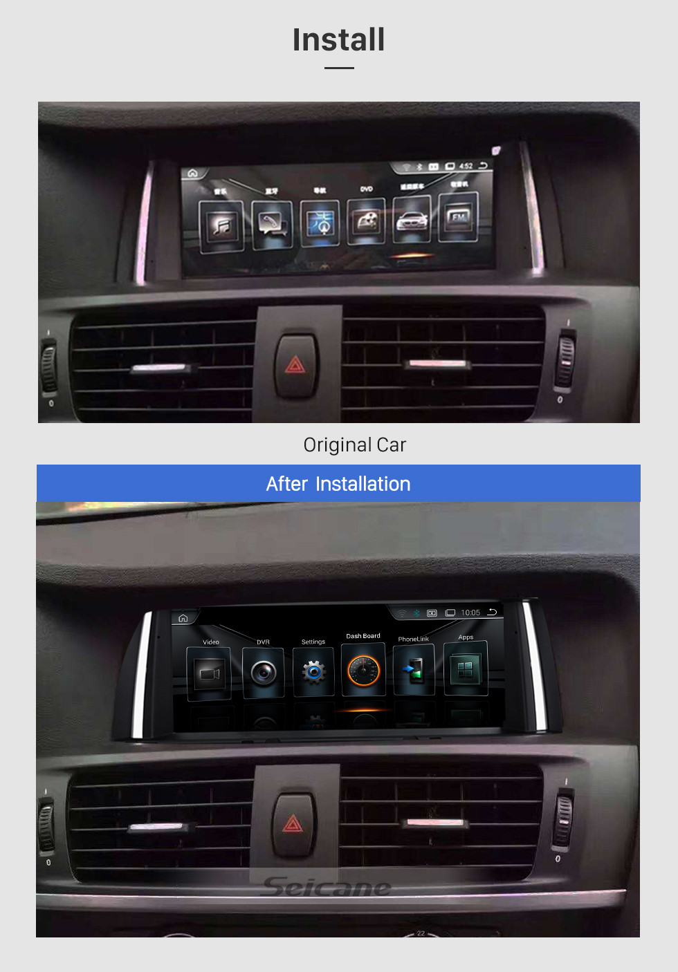 Seicane OEM 8.8 Inch Android 8.1 HD Touchscreen 2011-2013 BMW X3 F25 CIC Radio Head Unit GPS Navigation Bluetooth Support USB WIFI OBD2 Rearview Camera Steering Wheel Control