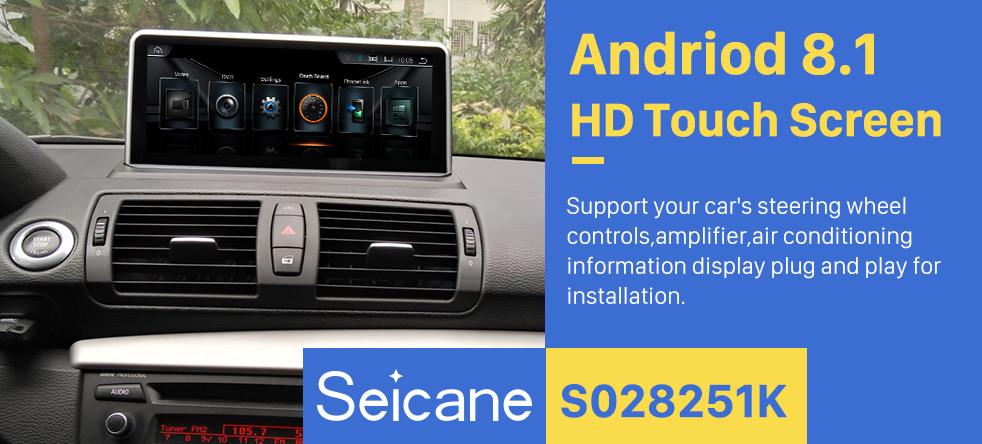Seicane 10.25 Inch HD Touchscreen Android 8.1 Head Unit For 2006-2012 BMW E87 Car Stereo Radio GPS Navigation System Bluetooth Phone Support 1080P Video OBDII DVR Steering Wheel Control WIFI