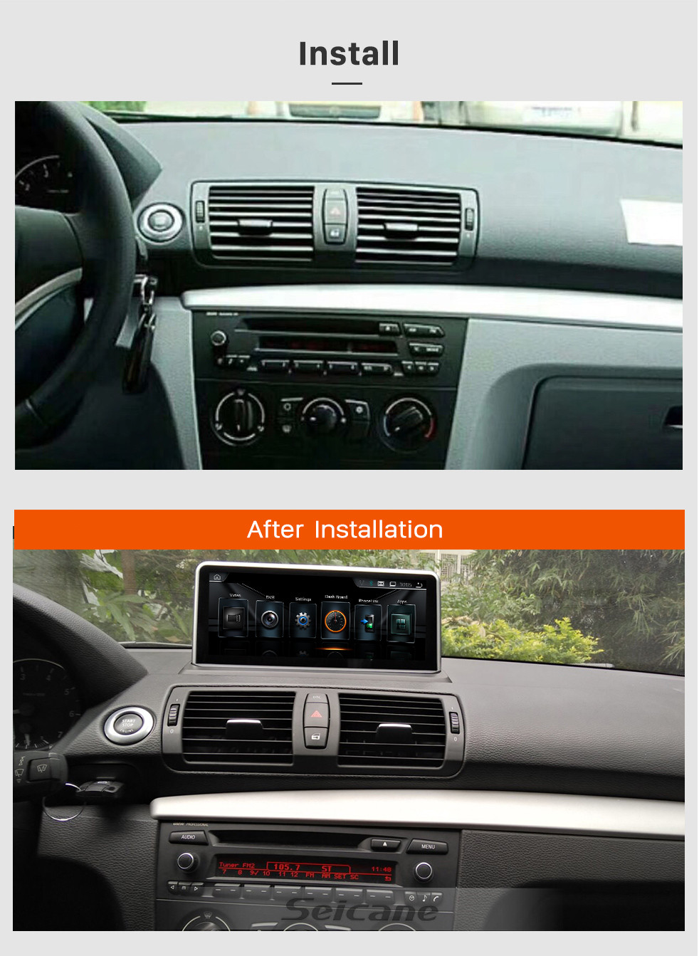 Seicane OEM 10.25 Inch Android 8.1 HD Touchscreen 2006-2012 BMW E87 CCC Radio Head Unit GPS Navigation Bluetooth Support USB WIFI OBD2 Rearview Camera Steering Wheel Control