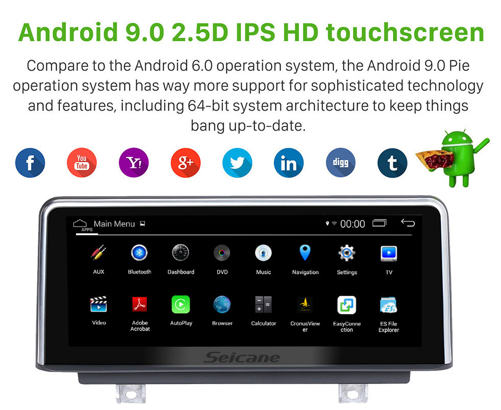 Seicane 10.25 Inch HD Touchscreen Android 9.0 2011-2016 BMW 1 Series F20/F21 Right Hand Drive Car Stereo Radio Head Unit GPS Navigation System Bluetooth Phone Support WIFI DVR 1080P Video Steering Wheel Control