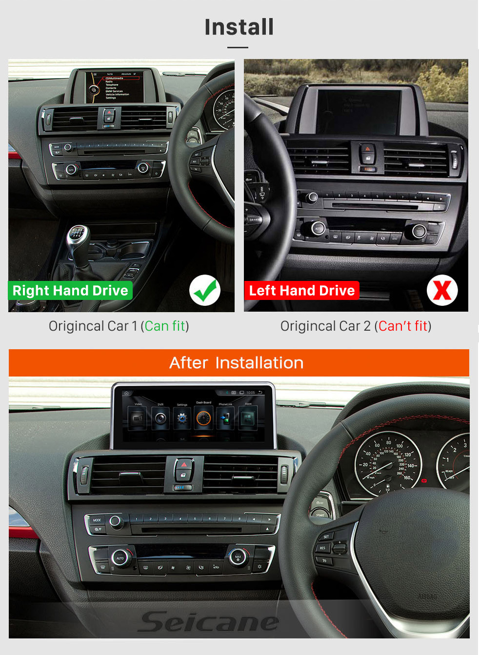 Seicane 10.25 Inch HD Touchscreen Android 8.1 2011-2016 BMW 1 Series F20/F21 Right Hand Drive Car Stereo Radio Head Unit GPS Navigation System Bluetooth Phone Support WIFI DVR 1080P Video Steering Wheel Control