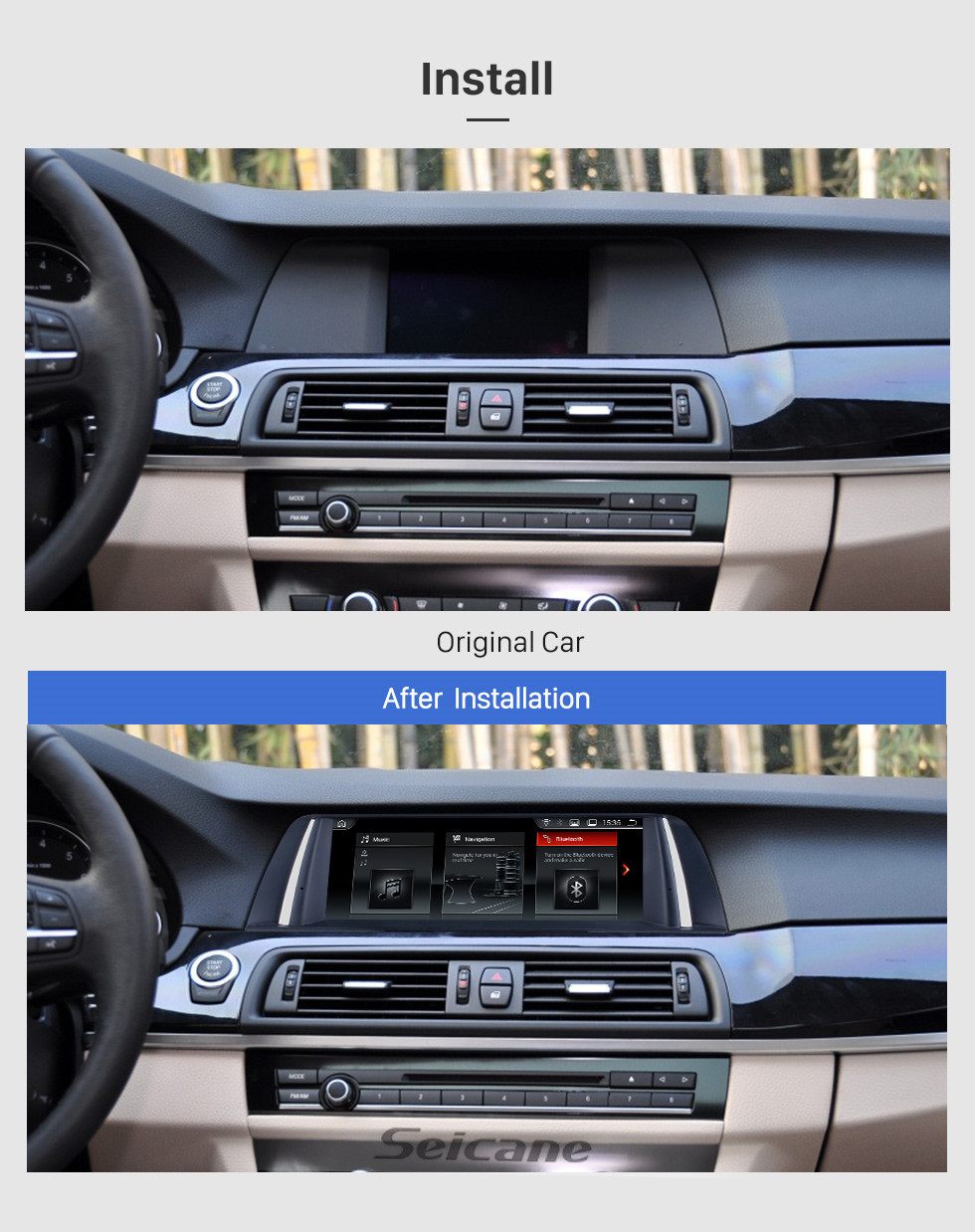 Seicane 10.25 Inch HD Touchscreen Android 8.1 2011 2012 BMW 5 Series F10/F11 CIC Car Stereo Radio Head Unit GPS Navigation Bluetooth Phone MP3 Support Steering Wheel Control WIFI Backup Camera