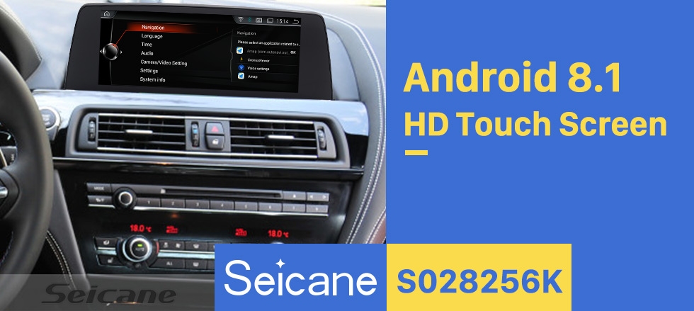 Seicane 10.25 inch HD Touchscreen GPS Navigation Radio for 2013 2014-2018 BMW 6 Series F06/F12 NBT Android 8.1 Stereo USB Bluetooth support Mirror Link DVR