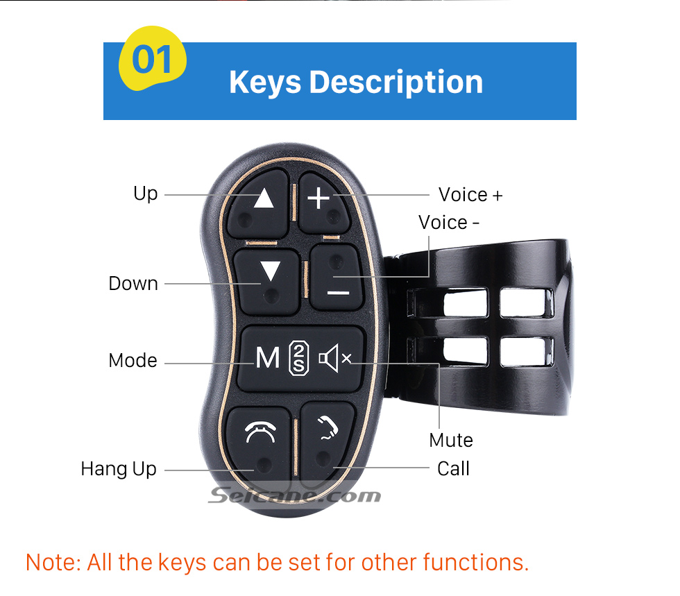 Keys Description Universal multifunctional wireless steering wheel controller for Car DVD player GPS navigation system