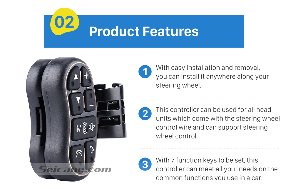 Product Features Universal multifunctional wireless steering wheel controller for Car DVD player GPS navigation system