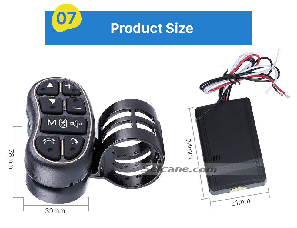 Product Size Universal multifunctional wireless steering wheel controller for Car DVD player GPS navigation system