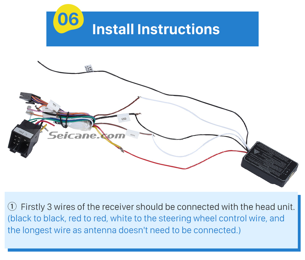 Install Instructions Universal multifunctional wireless steering wheel controller for Car DVD player GPS navigation system