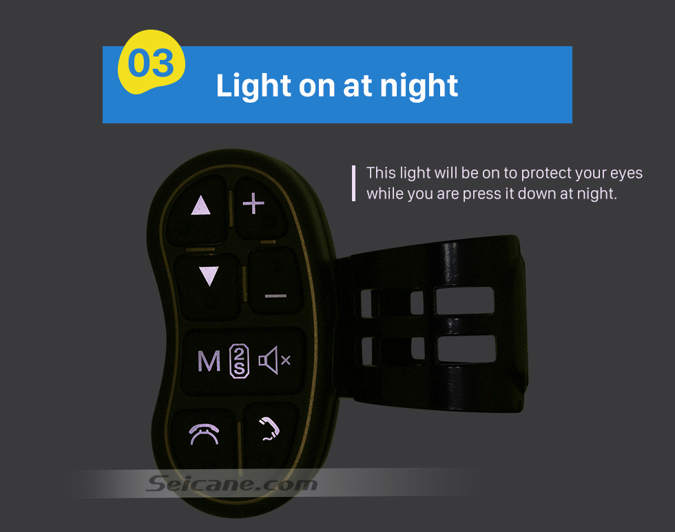 Light on at night Universal multifunctional wireless steering wheel controller for Car DVD player GPS navigation system