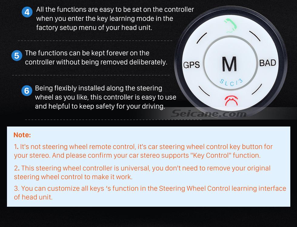 Seicane Seicane Black Car Universal Wireless multifunctional Steering Wheel Controller for GPS Audio CD DVD Radio