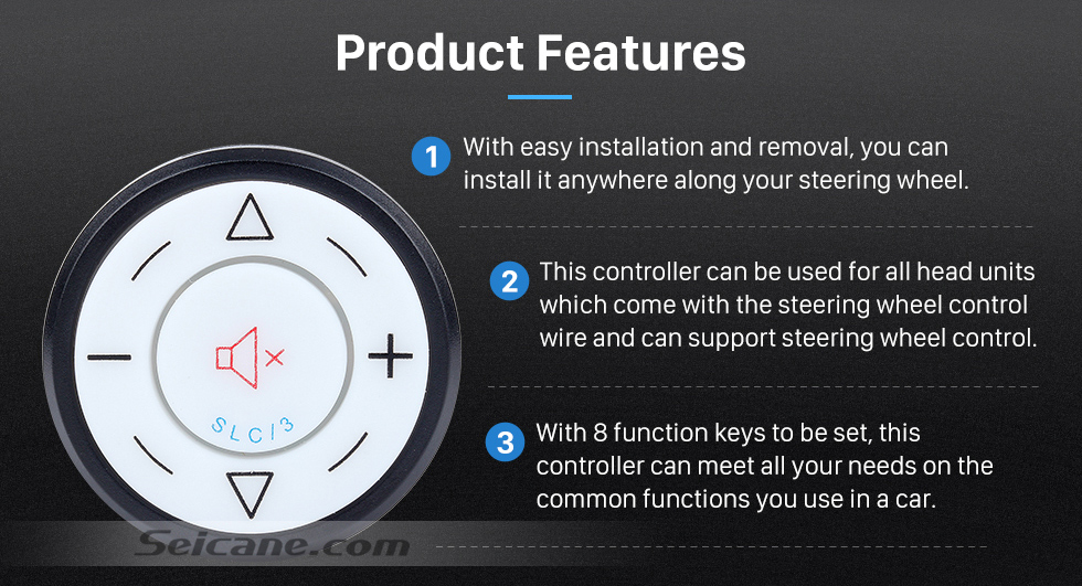 Product Features Seicane Black Car Universal Wireless multifunctional Steering Wheel Controller for GPS Audio CD DVD Radio