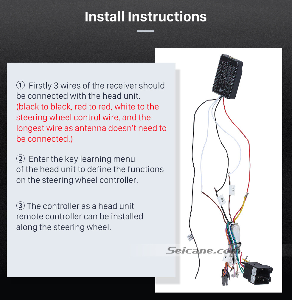 Install Instructions Seicane Silver Car Universal Wireless multifunctional Steering Wheel Controller for GPS Audio CD DVD Radio