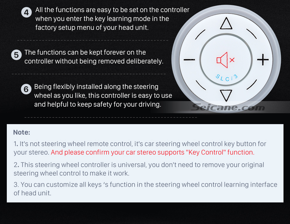 NOTE Seicane Silver Car Universal Wireless multifunctional Steering Wheel Controller for GPS Audio CD DVD Radio