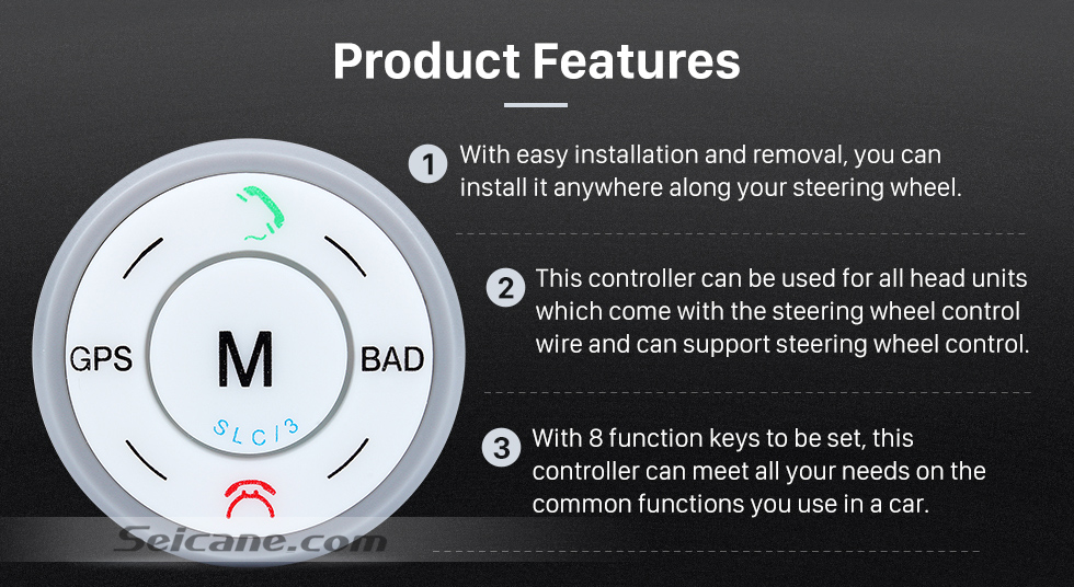 Product Features Seicane Silver Car Universal Wireless multifunctional Steering Wheel Controller for GPS Audio CD DVD Radio