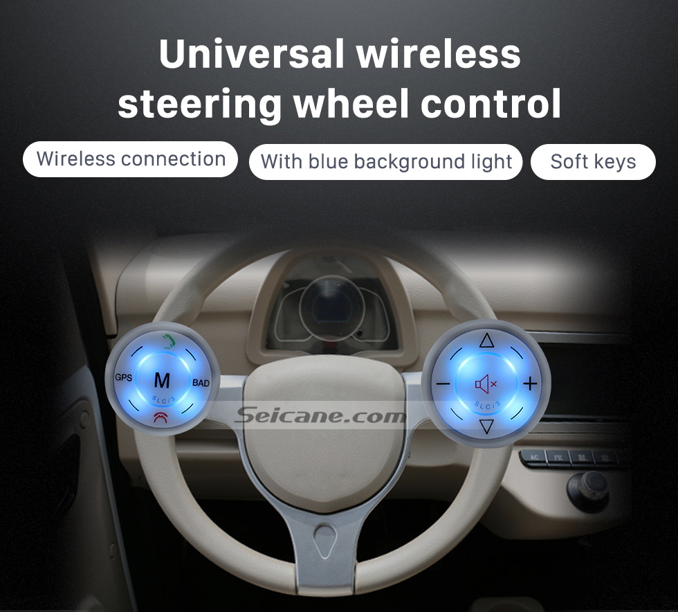 Seicane Seicane Silver Car Universal Wireless multifunctional Steering Wheel Controller for GPS Audio CD DVD Radio