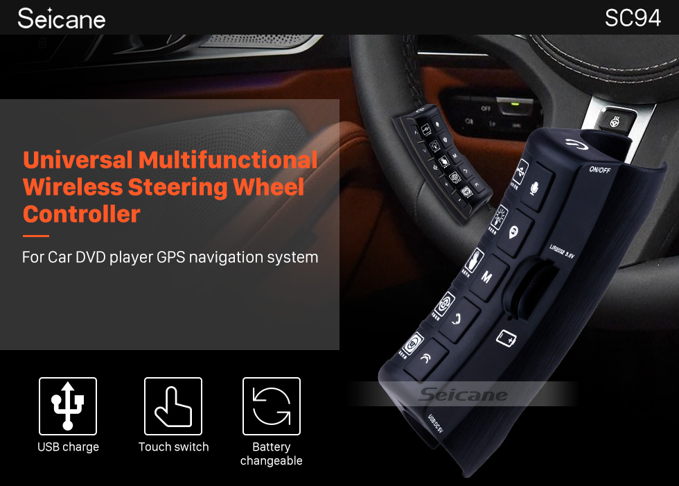 Seicane Universal multifunctional wireless steering wheel controller for Car DVD player GPS navigation system
