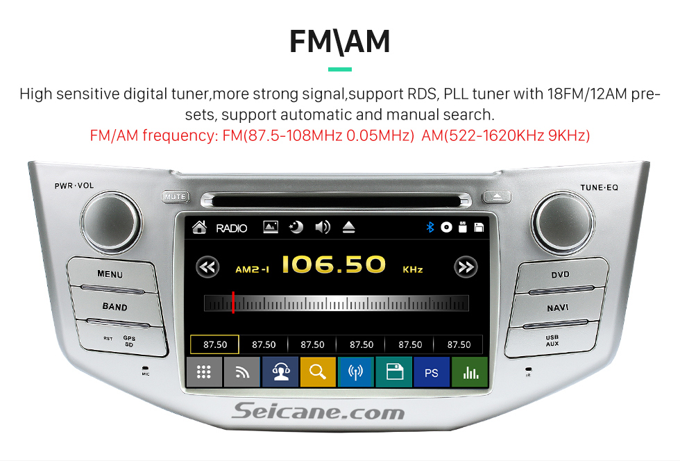 FM\AM All-in-one 2003-2010 Lexus RX 300 330 350 400H Car Stereo Radio GPS Navigation System with DVD Player Bluetooth Music MP3 USB SD Aux Backup Camera DVR Steering Wheel Control 1080P