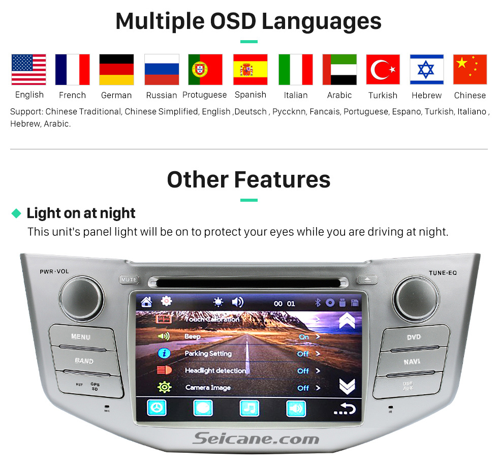 Multiple OSD Languages All-in-one 2003-2010 Lexus RX 300 330 350 400H Car Stereo-Radio GPS-Navigationssystem mit DVD-Player Bluetooth Musik-MP3-USB-SD-Aux-Unterstützungskamera DVR Lenkrad-Steuerung 1080P