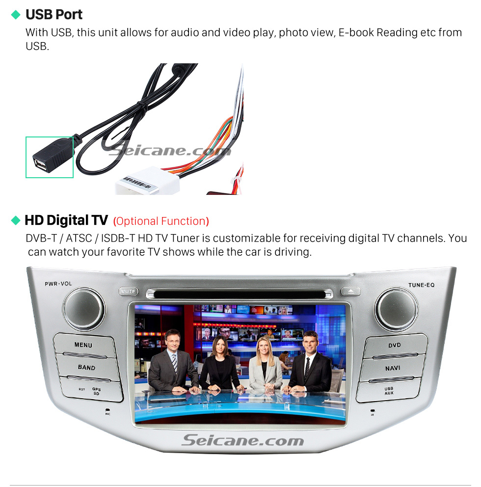 USB Port All-in-one 2003-2010 Lexus RX 300 330 350 400H Car Stereo Radio GPS Navigation System with DVD Player Bluetooth Music MP3 USB SD Aux Backup Camera DVR Steering Wheel Control 1080P