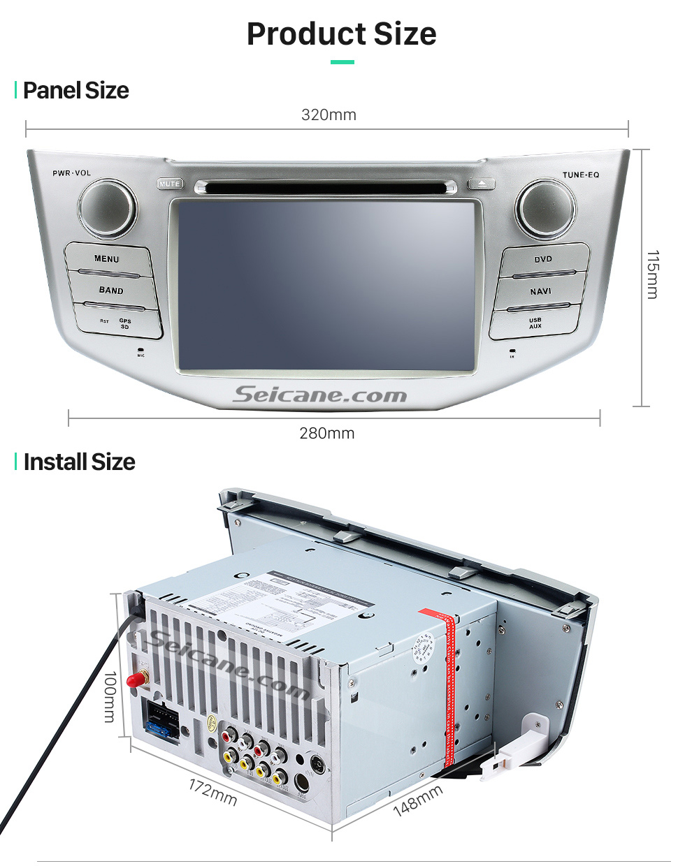 Product Size OEM 2004-2012 Toyota Harrier Bluetooth Music Radio DVD Player HD Touchscreen Car Stereo GPS Navigation System Steering Wheel Control 1080P