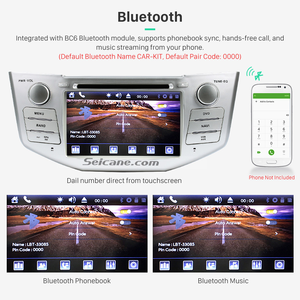Bluetooth OEM 2004-2012 Toyota Harrier Bluetooth Music Radio DVD Player HD Touchscreen Car Stereo GPS Navigation System Steering Wheel Control 1080P