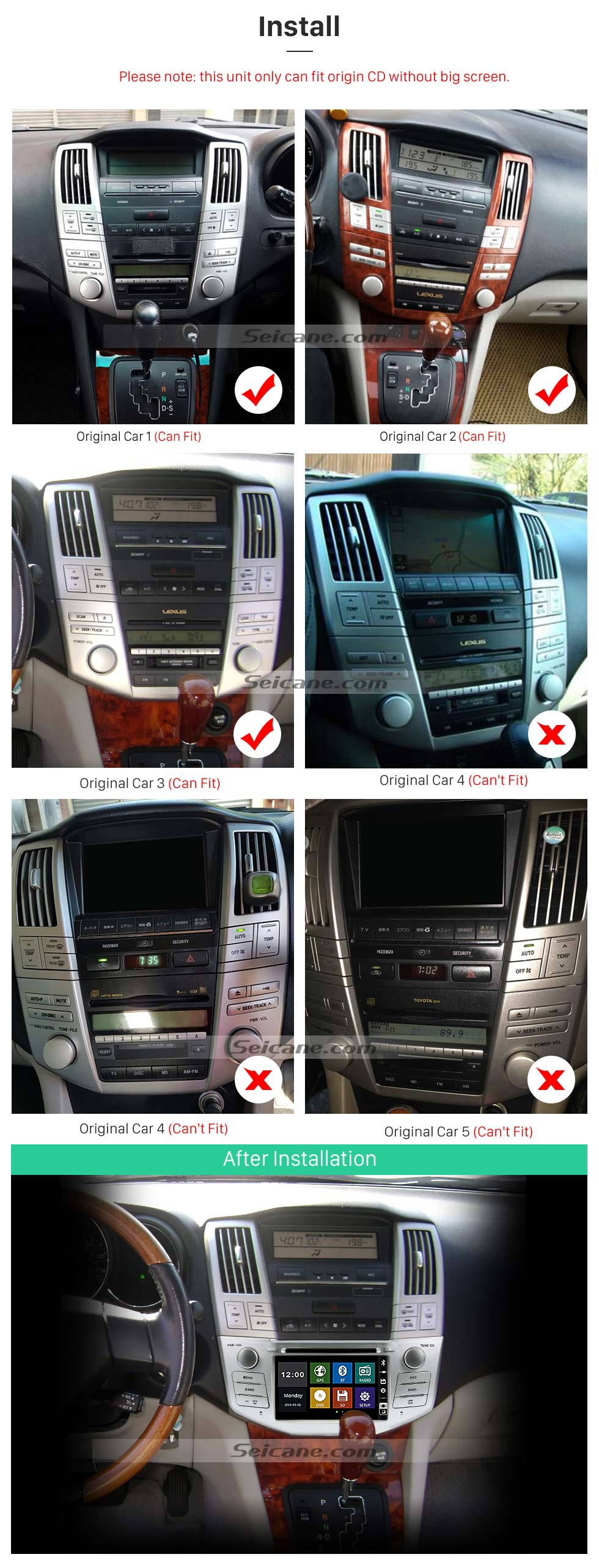 Install OEM 2004-2012 Toyota Harrier Bluetooth Music Radio DVD Player HD Touchscreen Car Stereo GPS Navigation System Steering Wheel Control 1080P