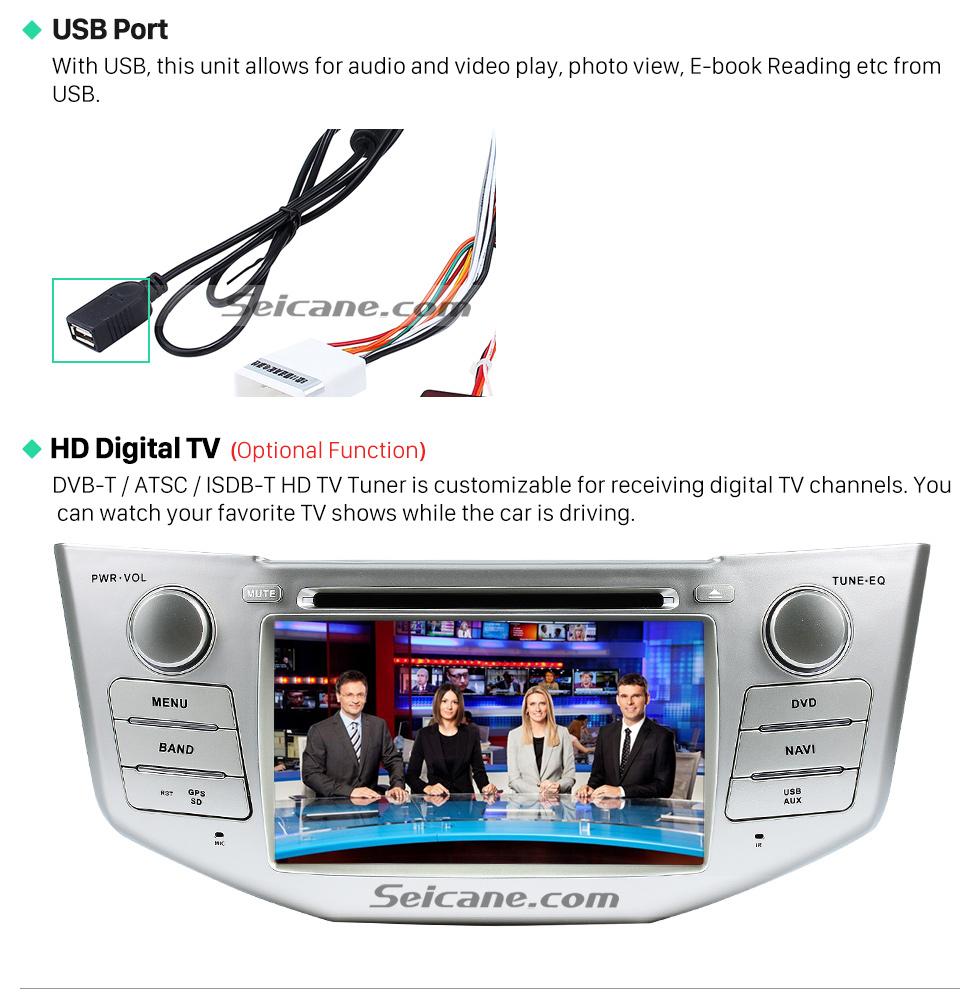 USB Port OEM 2004-2012 Toyota Harrier Bluetooth Music Radio DVD Player HD Touchscreen Car Stereo GPS Navigation System Steering Wheel Control 1080P