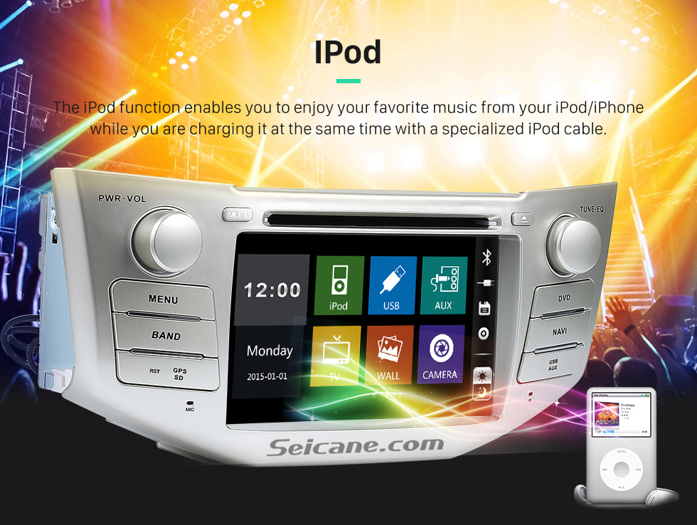 IPod OEM 2004-2012 Toyota Harrier Bluetooth Music Radio DVD Player HD Touchscreen Car Stereo GPS Navigation System Steering Wheel Control 1080P