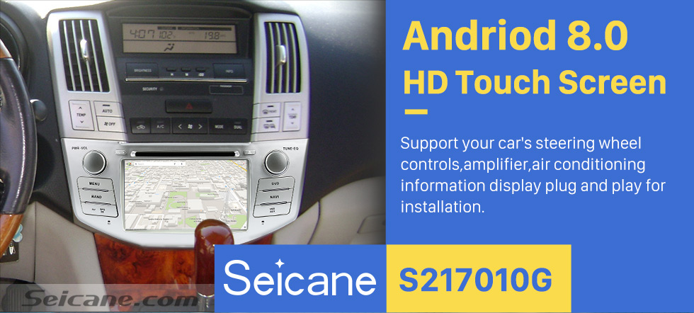 Seicane  Pure Android 8.0 In Dash DVD GPS System for 2004-2012 Toyota Harrier with Bluetooth HD  touch screen OBD2 DVR Rearview camera TV 1080P Video 3G WIFI Steering Wheel Control USB SD