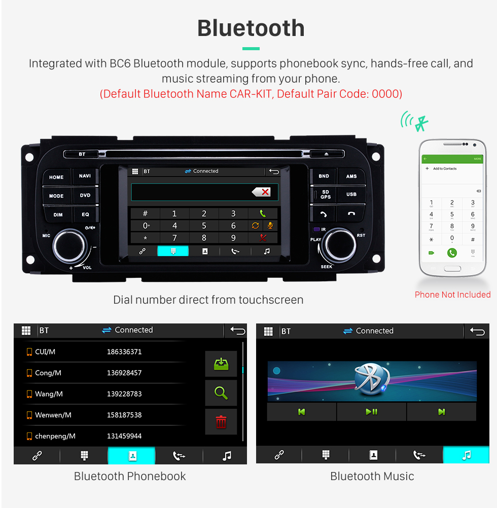 Seicane OEM DVD Player Radio Touch Screen For 2002-2007 Dodge Caravan Support 3G WiFi TV Bluetooth GPS Navigation System TPMS DVR OBD Mirror Link Video Backup Camera