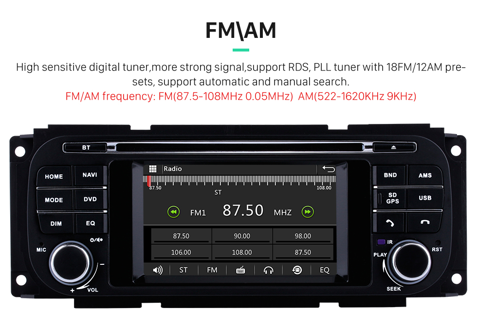 Seicane OEM DVD Player Radio GPS Navigation System For 2002-2007 Dodge Intrepid Magnum Neon With Bluetooth Touch Screen TPMS DVR OBD Mirror Link Backup Camera TV Video 3G WiFi