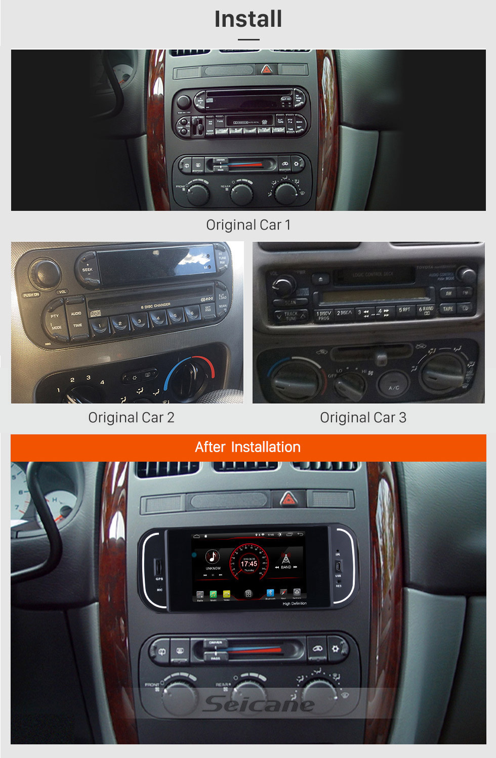 Seicane Android 8.1 HD Touch Screen 2002-2006 Dodge Ram pick-up Radio Bluetooth GPS Navigation System Support OBD2 Mirror link DVR Rearview Camera Steering Wheel Control TV Video USB SD WIFI