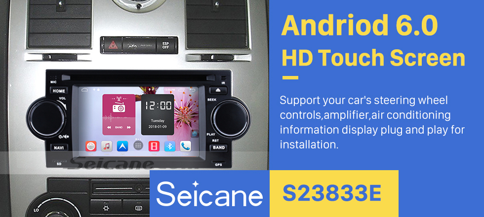 Seicane Android 6.0 HD Touchscreen Car Radio For 2002-2007 CHRYSLER 300C DVD Player GPS Navigation System Bluetooth Phone Music WIFI Support Digital TV DVR USB DAB+ OBDII Steering Wheel Control Backup Camera