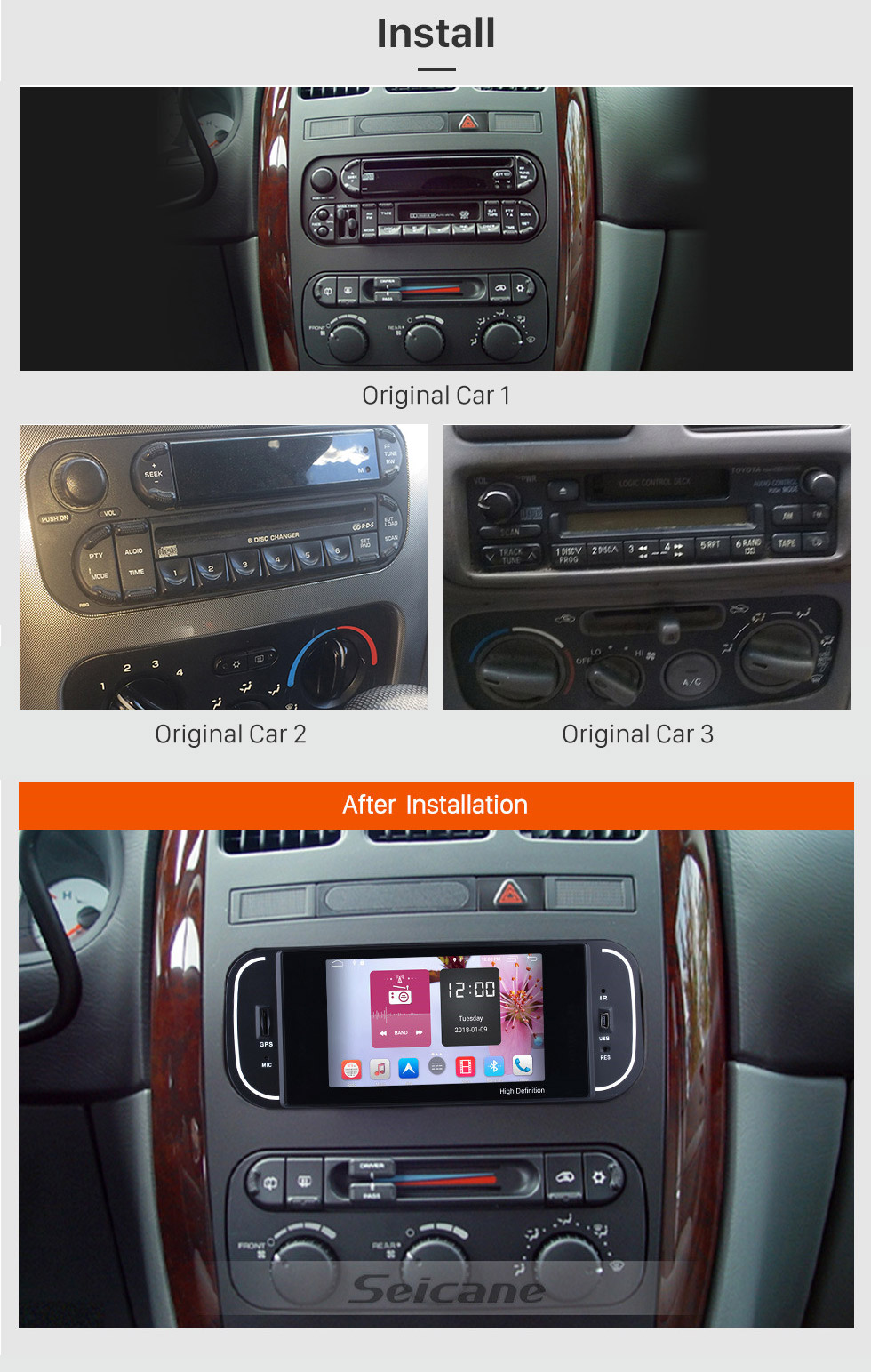 Seicane Android 6.0 HD Touchscreen For 2001-2007 Chrysler 300M PT Cruiser Sebring Concorde Grand Voyager Town & Country Radio GPS Navigation System Bluetooth Support Rearview Camera