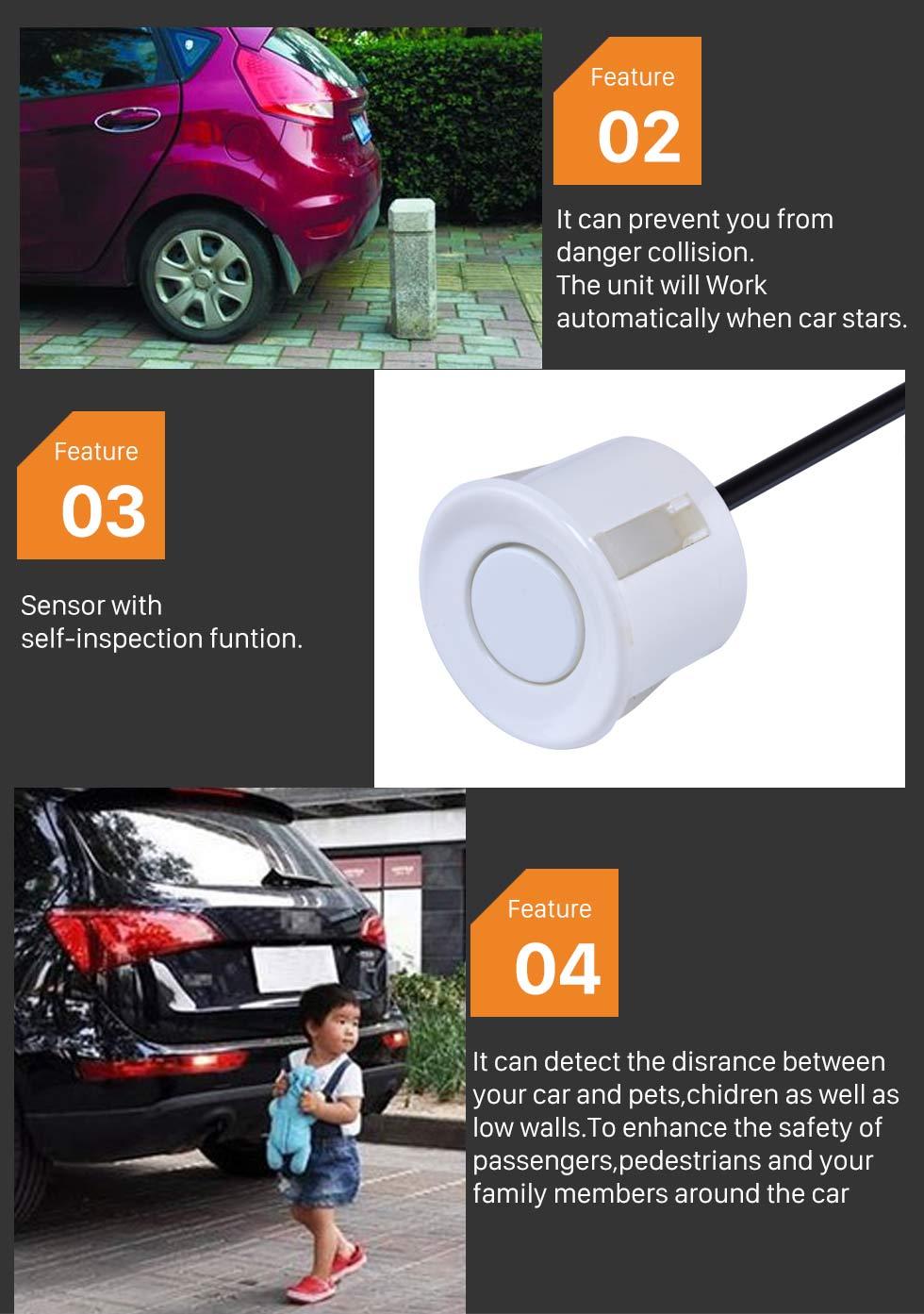 Seicane Auto Car Universal Parking Assistance System Reverse Sensor with 8 Parking Sensor Visual LED Monitor Reversing Radar
