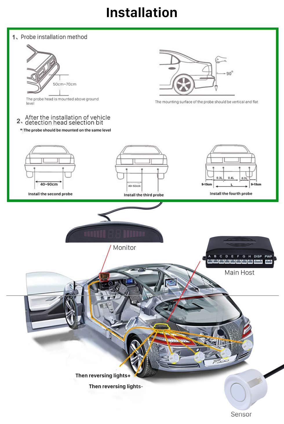 Installation Auto Car Universal Parking Assistance System Reverse Sensor with 8 Parking Sensor Visual LED Monitor Reversing Radar