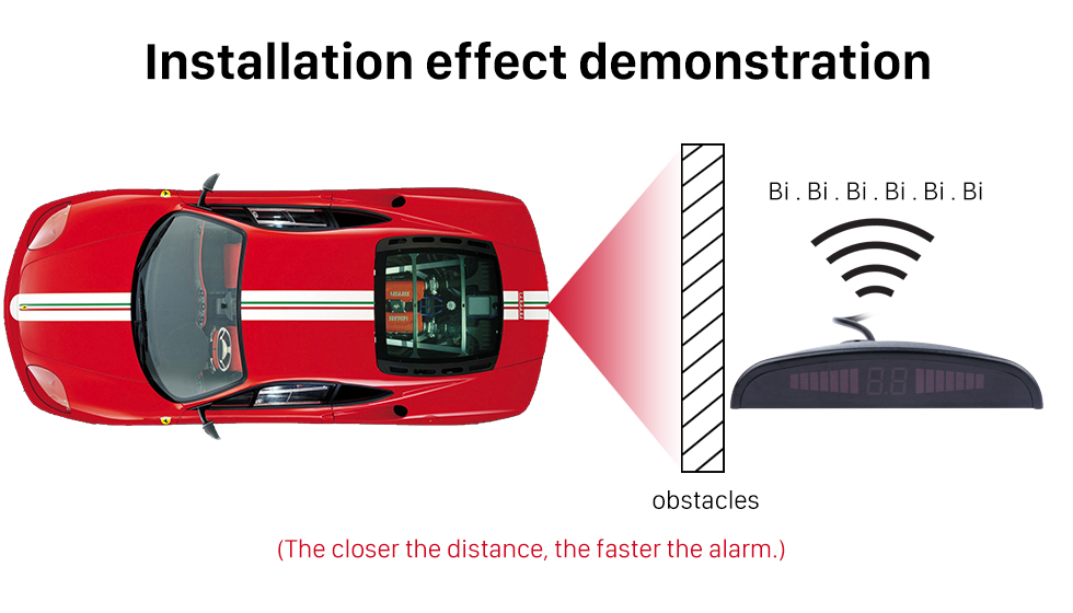 Installation effect demonstration Auto Car Universal Parking Assistance System Reverse Sensor with 8 Parking Sensor Visual LED Monitor Reversing Radar
