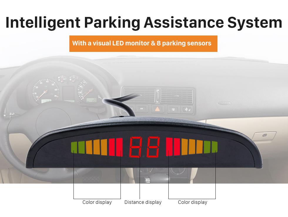 Intelligent Parking Assistance System Auto Car Universal Parking Assistance System Reverse Sensor with 8 Parking Sensor Visual LED Monitor Reversing Radar