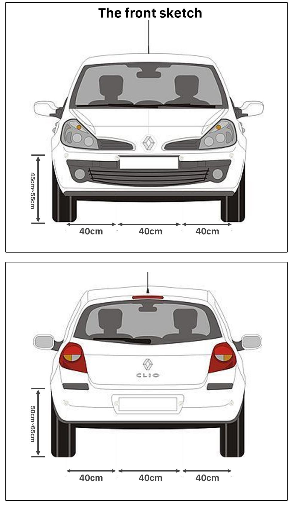 The front sketch Auto Car Universal Parking Assistance System Reverse Sensor with 8 Parking Sensor Visual LED Monitor Reversing Radar