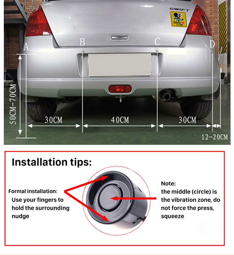 Seicane Car Universal Parking Assistance System Reverse Sensor with Visual LED Monitor 4 Parking Sensor Reversing System