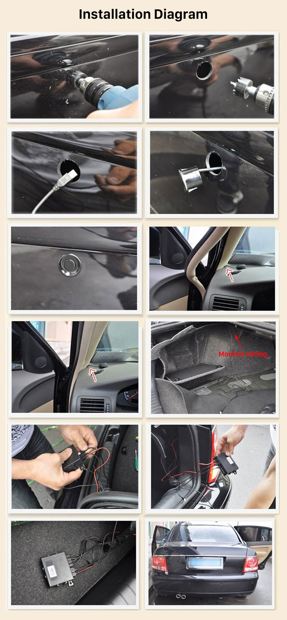 Installation Diagram Car Universal Parking Assistance System Reverse Sensor with Visual LED Monitor 4 Parking Sensor Reversing System