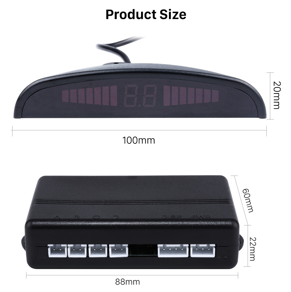 Product Size Car Universal Parking Assistance System Reverse Sensor with Visual LED Monitor 4 Parking Sensor Reversing System
