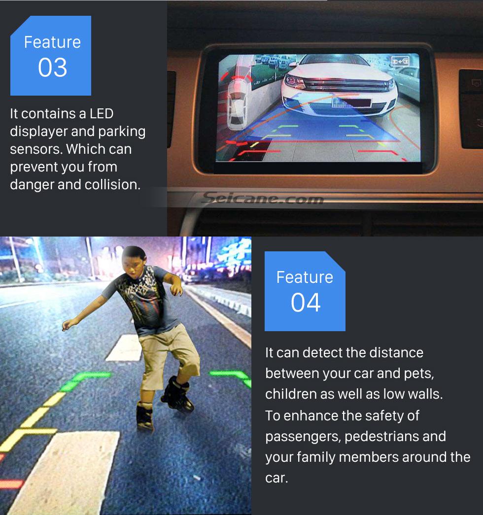Seicane Sistema de radar de alarme reverso do sensor de assistência do carro sem fio do carro com 4 sensores de rader Monitor de tela LED