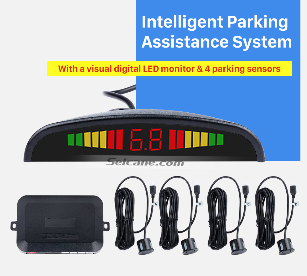 Seicane Car Wireless Automatically Parking Assistance Sensor Reverse Backup Alarm Radar System with 4 Rader Sensors LED Display Monitor