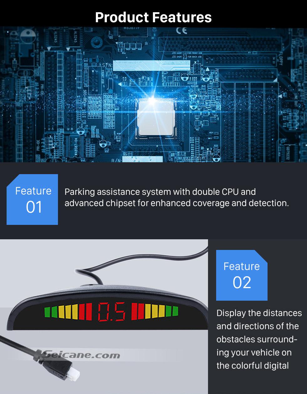 Seicane Car Wireless Automatically Parking Assistance Sensor Reverse Backup Alarm Radar System with 4 Rader Sensors LED Display Monitor