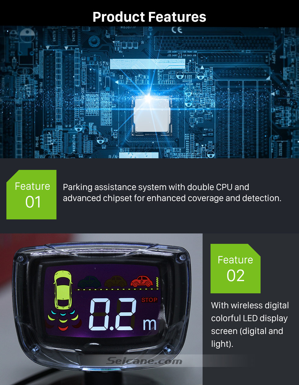 Product Features Seicane Wireless LCD Parking Sensor+Car Parking assistance+Car LCD Parking Reverse Radar with 4 Sensors New Arrival