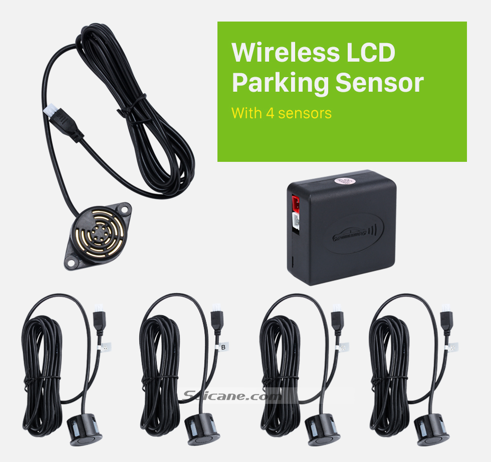 Wireless LCD Parking Sensor Seicane Wireless LED Display Parking Sensor Sensors Auto Car Reverse Assistance Backup Radar Monitor System rader + 4