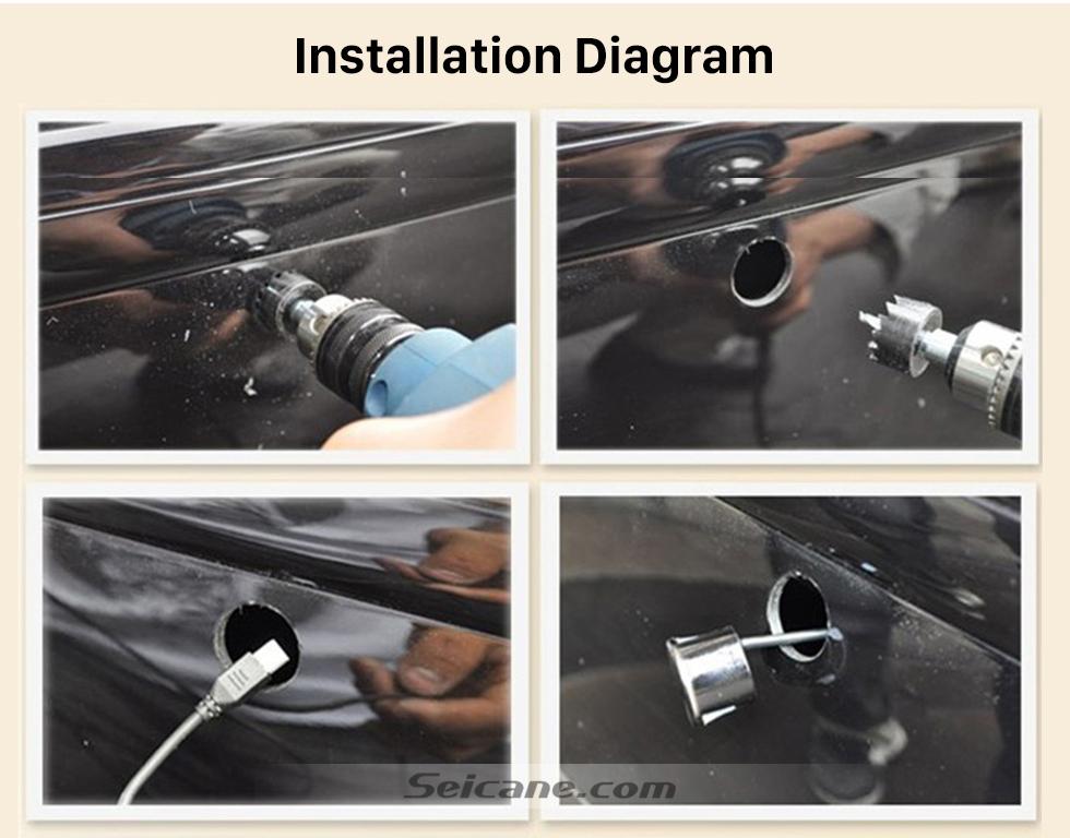 Installation Diagram Seicane Dual Core CPU Car Rearview Parking Sensor Detector Video Radar System Rear View Camera Monitor for Universal Car