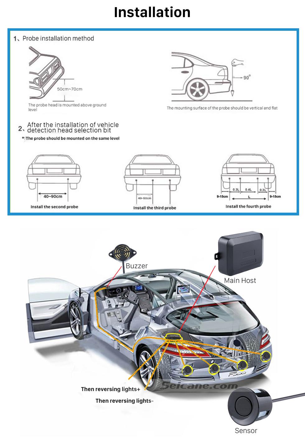 Installation Seicane Dual Core CPU Car Rearview Parking Sensor Detector Video Radar System Rear View Camera Monitor for Universal Car