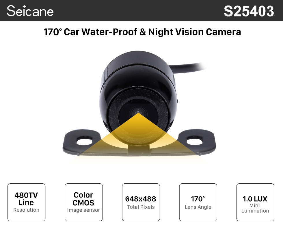 Seicane 170 Degree Wide Angle Lens Night Vision 648*488 Pixels Waterproof Rearview Backup Camera Parking Video 12V